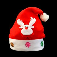 Wholesale Hat Decor - New Arrival Christmas Decor Santa Hats Santa Hats For Adults And Kids Merry Christmas Party Gifts Santa Snowman Moose Decals Kids Hat