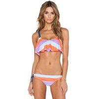 Wholesale American Fringe Bikini - 2016 Summer Fashion European American Sexy Two-piece Bikini Swimwear Printing Swimsuit Split Rope Bathing Suit High Waist Fringe Beachwear