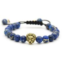 головные косы оптовых-Розничная Мужские браслеты 8 мм каменные бусины золото посеребренные Лев голову плетение браслеты