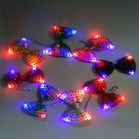 Wholesale Light Up Bow Tie - 100PCS LED Bow Tie Kids Adult Multicolor Bowknot Flashing Tie Light up Toys for Party Decoration Supplies F365