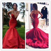 Wholesale black bone china - Simple 2017 Red Long Prom Dresses Mermaid Satin Evening Dresses Sweetheart Backless Evening Party Dresses Made In China