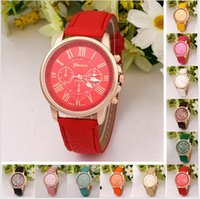 Wholesale Mens Roman Numerals Watch - Wholesale Fashion Unisex mens women Geneva Roman Numerals Faux Leather Analog Quartz Wrist Watches for women men wrist watch dress watches