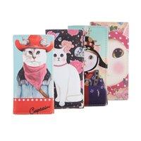 Wholesale Envelop Wallets - Wholesale- Fashion Cute Cat Printed Women Wallets PU Leather Long Style Envelop Ladies Clutch Card Holder Girls Female PU Wallet Coin Purse