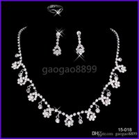 Wholesale Silver Ball Piercing - luxury sparkly Jewelry Sets for Wedding Prom Evening Cocktail Bridal Accessories Shinning Cheap In Stock 2016 shipped within 2 days 15018 Je
