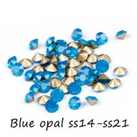 Wholesale Machine Cut Crystal - Crystal Rhinestones ss14-ss21 Blue Opal Round Pointback Machine Cut Glass Stones Perfect For Jewelry Decoration DIY Supplies