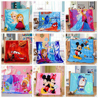 Wholesale Baby Beds Cartoons - Baby Blankets Trolls Frozen Cartoon Blanket Mickey Minnie KT Bedding Doraemon Pooh Princess Stitch Car Air Condition Blankets Gifts B3216