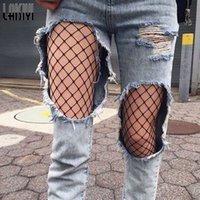 Wholesale Hosiery Pants - Wholesale- LAISIYI Women Sexy Fishnet Mesh Fitness Leggings Hollow Out Net Club Party Hosiery Pants ASLE10003