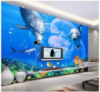 Wholesale underwater wall art - Custom modern minimalist mural photo wallpaper Dolphin Great White Shark Underwater World mural abstract art wall peper bedroom wall decor