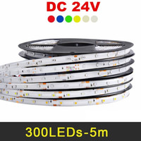 Wholesale 24v Led Red Light - 24V LED Strip 5050 2835 5630 5m 300leds IP65 IP20 Flexible LED Light Strips RGB Warm White Red Blue Green