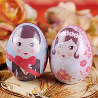 Wholesale Bride Wedding Tin Box - Egg Shape Bride and Groom Tin Box Gift Packing Candy Box Wedding Favors And Gifts Party Souvenirs wen4651