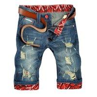 Wholesale Printed Half Pant Men - Wholesale-2016 Summer New Print Denim Shorts Men's Jeans Hole Shorts Men High Quality Cotton Men Straight Jeans Shorts Size Half Pants