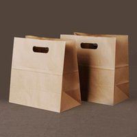 Wholesale Take Away Package - 28x28x15cm Brown kraft paper bag take-away toast Dessert bag Jewelry Bread Candy Buffet Bags food packaging can printing logo 50pcs