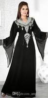 Wholesale Greek Nude - Black Long Sleeves Evening Dresses Dubai Arabic Silver Beaded Sequins Crystals Fashion A Line Women Formal Gowns Muslim Greek Stylish 2017