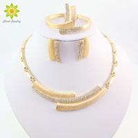 Wholesale bridal jewellery china resale online - Fashion Wedding Bridal Crystal Rhinestone Jewelry Sets African Beads Dubai K Gold Plated Statement Jewellery Costume