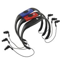 Wholesale Earphone Waterproof Mp3 Player - Waterproof 8GB MP3 IPX8 Music Player Underwater Sports Neckband Swimming Diving Stereo Audio Earphone with FM Radio pedometer