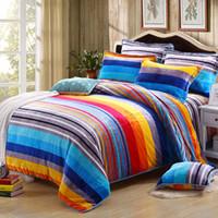 Wholesale Fleece Sheet Set Full - Wholesale- Rainbow Stripes Bedding Set Fleece fabric Duvet Cover warm Bed Sheet 2pcs Pillowcases Bedroom Textile Bed Linen Queen King size