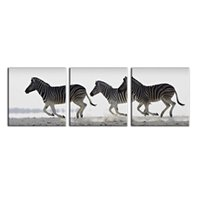Wholesale zebra print decorations - 3 Piece Black And White Zebra Oil Painting Canvas Wall Art Decor Painting Patterns Wall Print Pictures Decoration for Living Room And Office