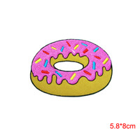 Wholesale Strawberry Iron Patch - STRAWBERRY DOUGHNUT Donut Food Bakery Applique Embroidered Iron Sew on Patch