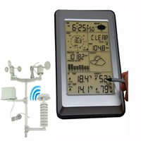 Wholesale Wireless Pc Station - Easyover Professional Wireless Weather Station Touch Panel Therm Humidity Rain Wind Pressure PC Data Solar Power Weather Center
