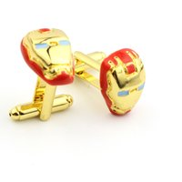 Wholesale Top Grade Red Iron Man Cuff Links cufflinks for shirts French cufflinks Cufflink For Mens Wedding Cuff Links
