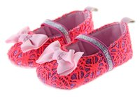 Wholesale Shose Girls - Summer New Fashion Girls Lovely Princess Hollow Hand-crocheted Baby First Walkers Soft Bottom Toddler Shose Bow Baby Shose
