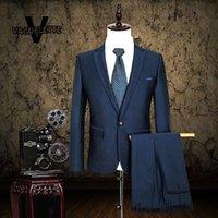 Wholesale Traje Pants - Wholesale- (Blazer+Pant) Traje Hombre Formal Slim Fit Men Suit Business Wear Royal Blue Retro Mens Wedding Tuxedos Suits With Pants S-3XL