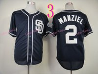 Wholesale Baseball Base - San Diego Padres Jersey 2 Johnny Manziel Jerseys White Grey Blue Cool Base Stitched Authentic Baseball Jersey Embroidery Logo