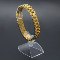 Wholesale stainless steel heavy bracelets resale online - Men cm cm Stainless Steel Solid Heavy Watch Bracelet Bangle Silver Gold Plated Hip hop Bracelets