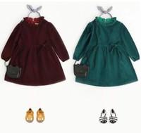 Wholesale Long Sleeve Dress Wholesale - Kids dresses sweet Girls velvet ruffle collar party dress 2018 new Spring Children long sleeve bows princess dress green wine red C2461