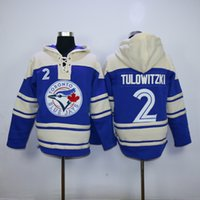 Wholesale Blue Logo Sweater - Toronto Blue Jays Mens Sweaters #2 Troy Tulowitzki Blue Baseball Jersey Hoodies Stitched Top Quality Embroidery Logo Can Mix Order 2817