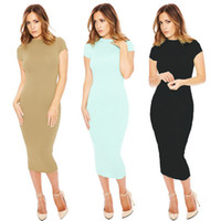 Wholesale Trendy Club Clothes - 2016 Trendy Fashion Sheath Dresses For Women O-Neck Short Sleeve Mid-Calf Long Sexy Dresses Solid Summer Party Clothing New Hot Sales