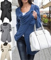 Wholesale Cardigan Match - Women Sweater Coat Fashion Autumn Winter Women Ladies Irregular Knitted Cardigans Coat All-Match Outerwear Jackets Women Clothing Blouse Top