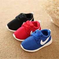 Wholesale Toddlers Red Shoes - 2016 Spring Autumn Children Shoes Blue+Red+Black Breathable Comfortable Kids Sneakers Boys Girls Toddler Shoes Baby Size21-25