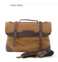 Wholesale Strap Bags For Men - Retro Portable Briefcase for Business Man Patchwork Leather with Canvas Tote Bags High Quality Long Strap Cross-body Bags
