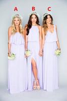vestidos lilas para damas de honor al por mayor-2019 hermosa lila vestidos largos de dama de honor volantes Mumu bohemio piso de longitud verano boda de la boda vestidos de noche vestido de dama de honor