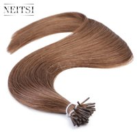 """Wholesale Ash Brown Extensions - Neitsi I Tip Stick Tip Keratin Human Hair Extensions Indian Weave Straight Hair Piece 20"""" 1g s 50g 100g #8 Light Ash Brown"""