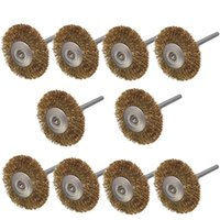 Wholesale Brass Shank - 10pcs 3mm Shank Brass Wire Wheel Brushes for Dremel Rotary Tool