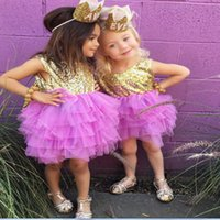 Wholesale Girl Clotes - Wholesale children's wear Kids dress The princess children's skirt Bowknot Peng peng Sequined dres Party wear clotes