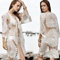 Wholesale Women Blouses Bohemian - 2017 New Bikini Beach Cover Ups Women Sexy Summer Lace Cardigan Blouses Vacation Shirts Hollow Out Crochet Bohemian Beachwear Swimwear Tops