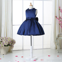Wholesale Navy Bow Girl - Navy Blue Flower Girl Dresses For Weddings Elegant Knee Length Crew Neckline Cap Sleeve Custom Kids Formal Wear Elastic Satin Dress 1-14 Ag