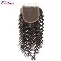 Wholesale Malaysian Swiss Lace Closure - Outlet Kinky Curly Malaysian Swiss Lace Closure Free Middle 3 Way Part Curly Human Hair Top Lace Closures Piece Bleached Knots 4x4