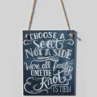 выбрать стороны оптовых-Знак меловой доски-выберите место, но не сторону-мы все семья свадьба знак меловой доски