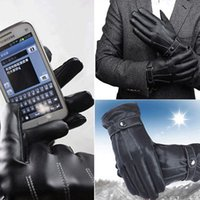 Wholesale Leather Mitten Gloves - 2PCS Pair 3 Line Brand Wholesale Mens Luxurious PU Leather Thick Winter Button Touch Screen Cashmere Gayly Gloves Glove Black Riding YYA379