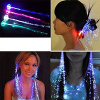 Wholesale Wholesale Fiber Optics Party Decorations - Luminous Light Up LED Hair Extension Flash Braid Party girl Hair Glow by fiber optic For party christmas Night Lights