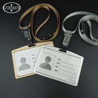 Wholesale Id Badge Case Metal - Metallic Lanyard credit card wallet women men bank card bag black card Case Bus ID holders Identity badge with lanyard