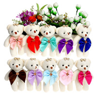 Wholesale Teddy Bears Bouquets - 10PCS Candy 10Colors Bow Bear Plush Toys Satin Cartoon bouquet diamond plush bear doll wedding children toy phone key pendant
