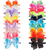 Wholesale Toddler Ribbon Headbands - 20 Pcs lot New Fashion Handmade Boutique Solid Ribbon Bow Headband For Baby Girls Toddler Plain Headband Hair Accessories
