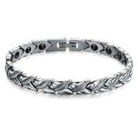 2016 NOVO Fashion 316L Titanium Steel Energy Magnético Stone Health Care Braceletes para homens Shining Crystal Drill Jewelry GS3347