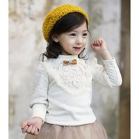 Wholesale Girls Crochet Shirt - Girls lace crochet T-shirt kids crown BOWS hollow flowers V faux fur lace bottoms children embroidery lantern sleeve princess tops R0181