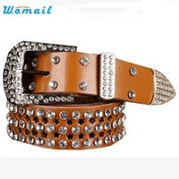 Wholesale Western Belt Wholesalers - Wholesale- Womail Good Deal 2017 New High quality Atlas Western Cowgirl Bling Cowgirl Leather Belt Clear Rhinestone Crystak New 1pcs